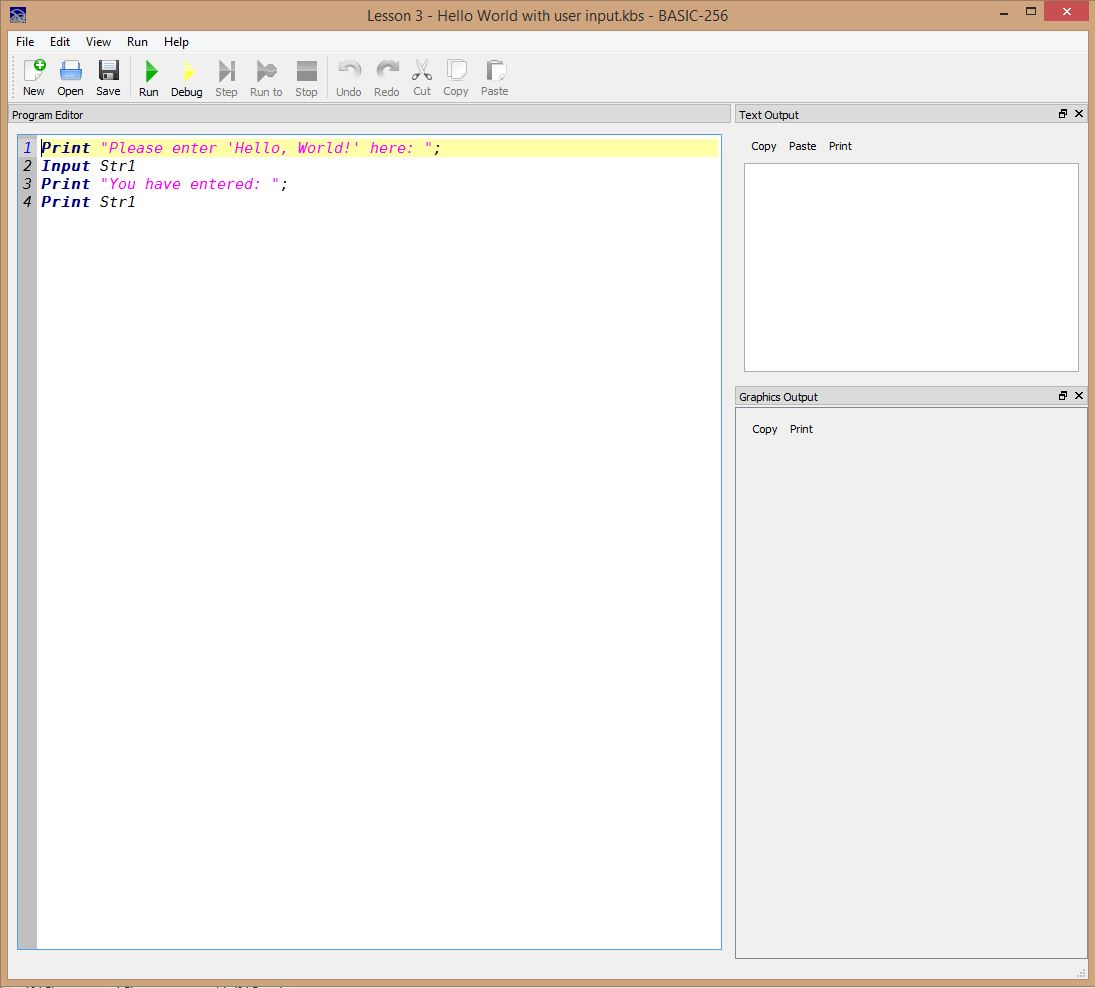 Lesson 0003 - Hello World with user input