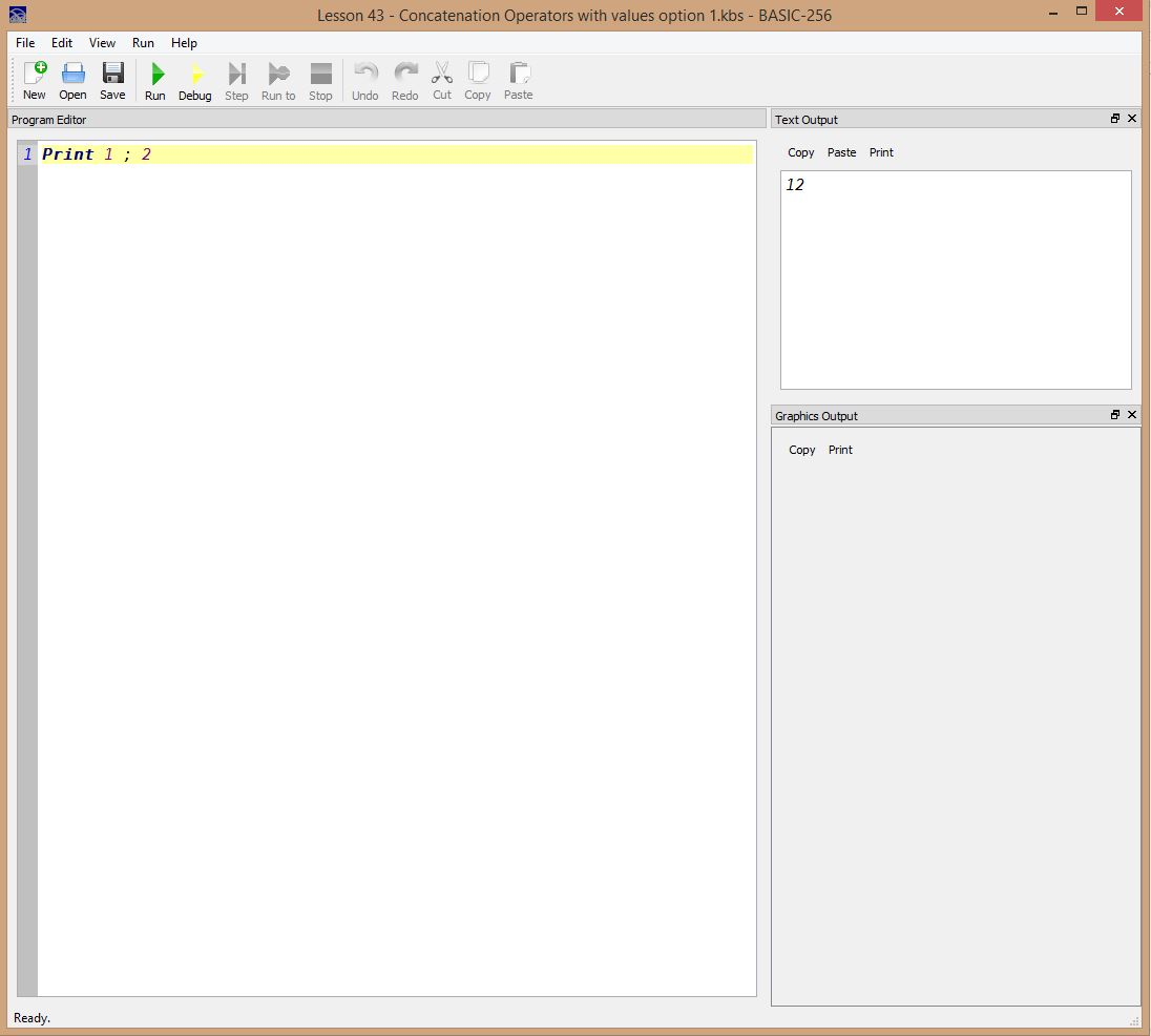 Lesson 0043 - Concatenation operators with values option 1
