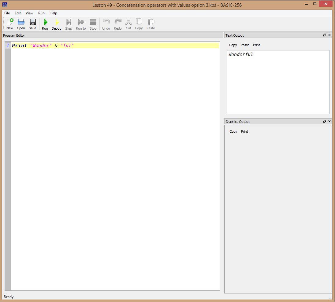 Lesson 0049 - Concatenation operators with values option 3