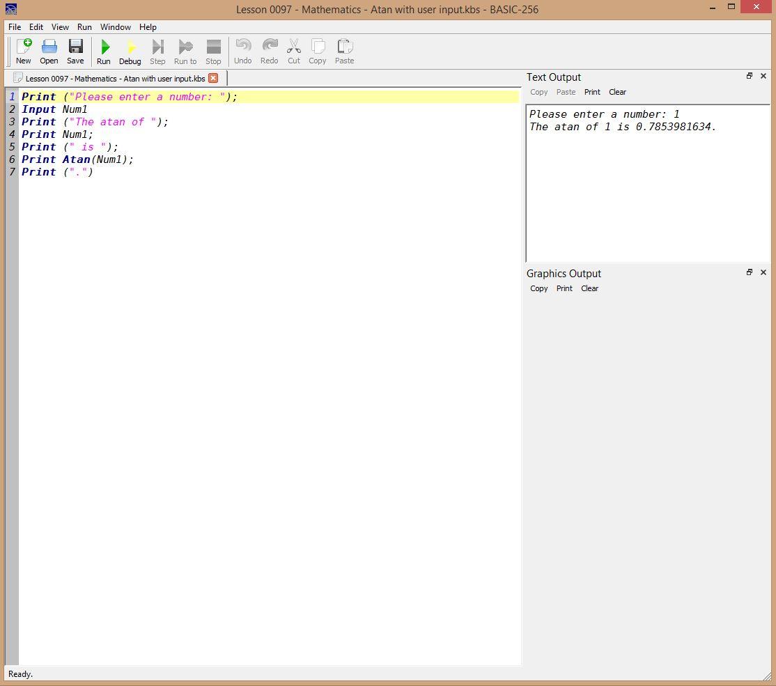 Lesson 0097 - Mathematics - Atan with user input