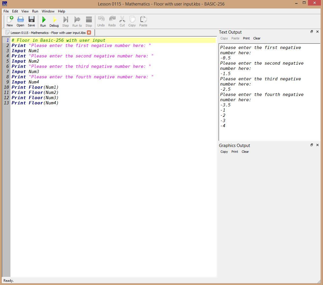 Lesson 0115 - Mathematics - Floor with user input