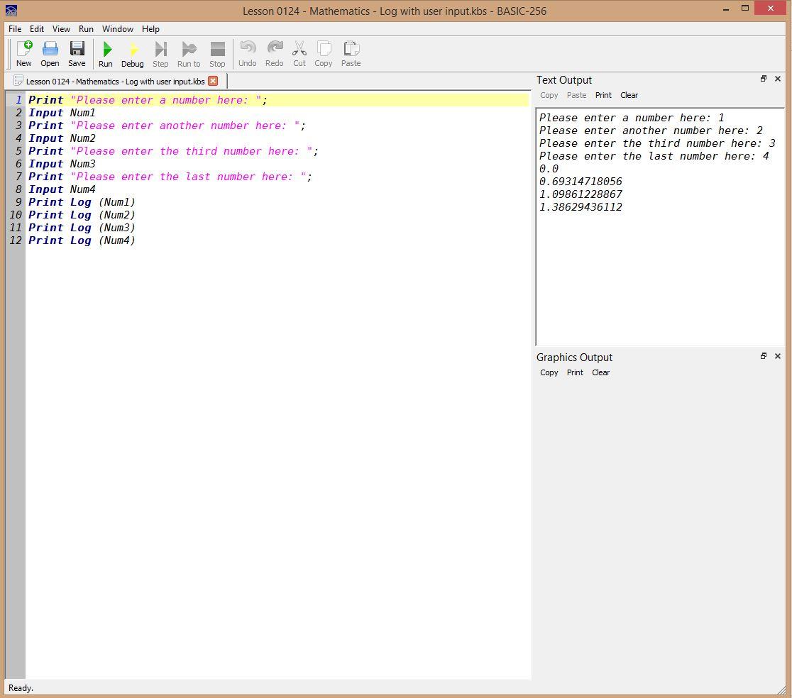 Lesson 0124 - Mathematics - Log with user input