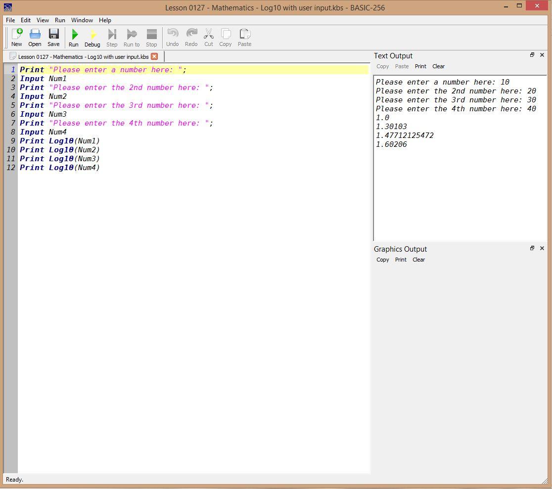 Lesson 0127 - Mathematics - Log10 with user input