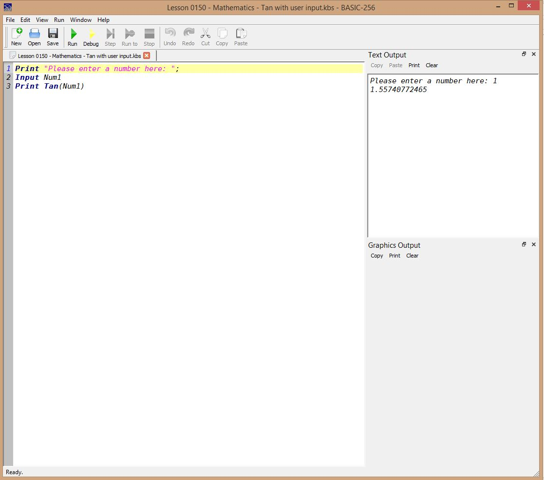 Lesson 0150 - Mathematics - Tan with user input