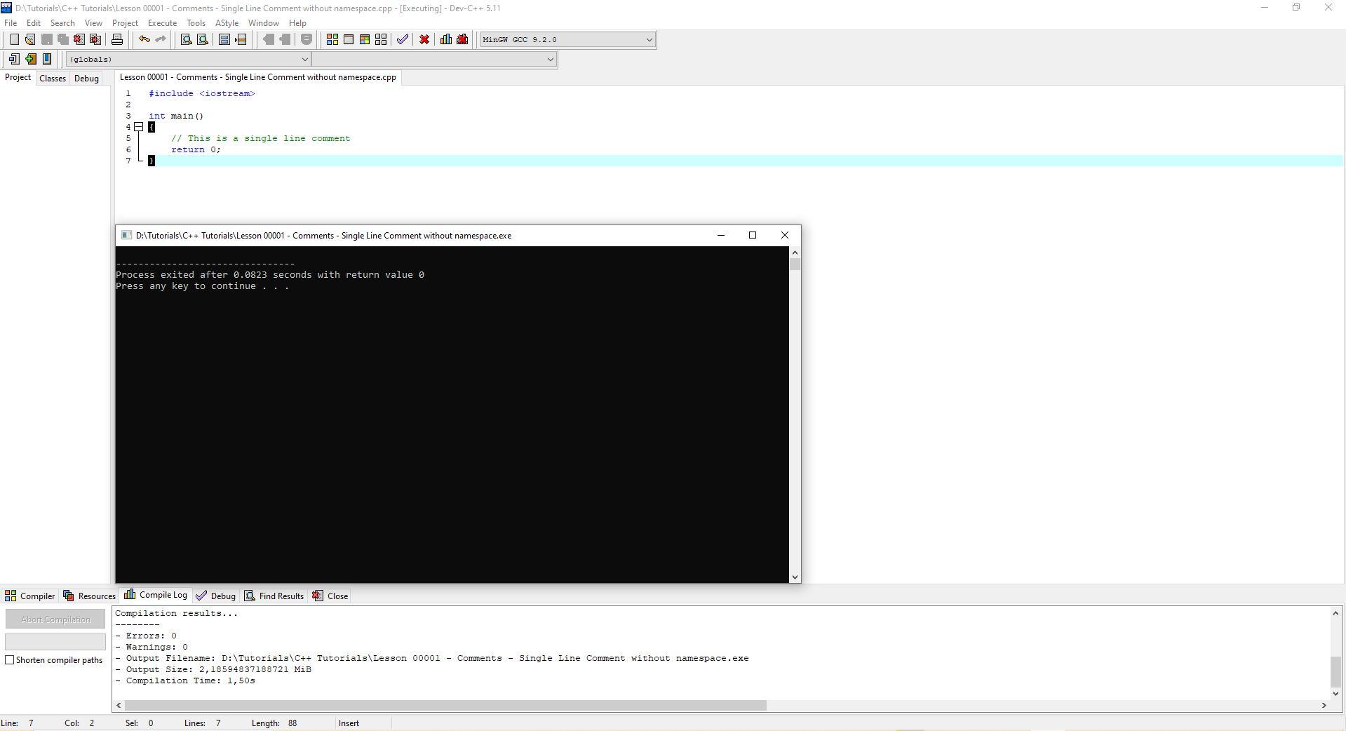 Lesson 0001 - Comments - Single Line Comment Without Namespace